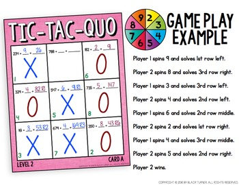 Long Division Tic-Tac-Quo Game: 4th Grade Math Centers 4.NBT.6