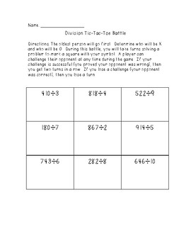 Long Division Tic Tac Toe Freebie