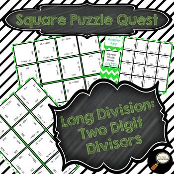 Long Division: Two Digit Divisor - Square Puzzle Quest