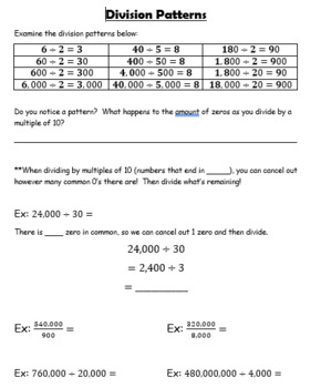 Long Division Unit GUIDED NOTES