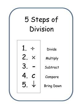 Long Division Unit and Foldable. 5 steps 1,2,3 digit quotients Math Centers