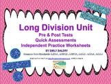 Long Division Unit with Pre/Posttest and Worksheets