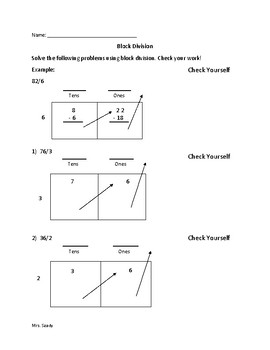 Long Division Using Block Method Worksheet