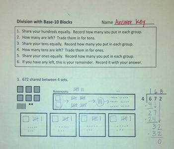 Long Division Using Models (Manipulatives)