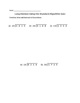 Long Division Using the Standard Algorithm Quiz