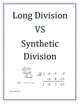 Long Division VS Synthetic Division Activity