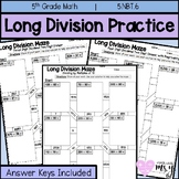 Long Division Whole Number Maze Practice