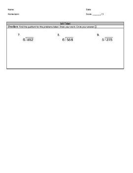Long Division: Whole Number Quotients (Reteach/Intervention)