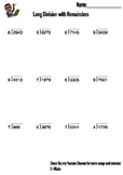 Long Division Worksheet (Part II) With Answer Key