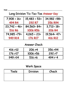 Long Division With Multi Digit Divisors Tic Tac Toe