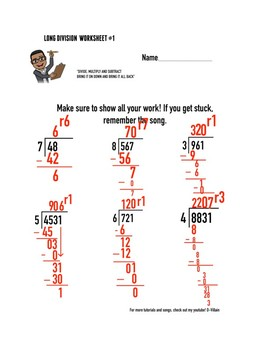 Long Division Worksheet (Part I) With Remainders