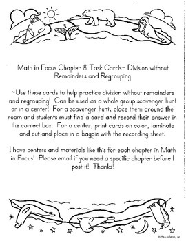 Long Division Without Remainders Task Cards- Math in Focus Chapter 8