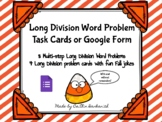Long Division Word Problem Task Cards & BOOM cards (one di