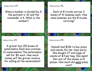Multiplication & Long Division (one digit divisor) Task Cards