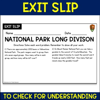 Long Division Word Problems (National Parks)