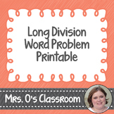 Long Division Word Problems Worksheet/Printable with Answer Key