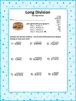 Long Division Worksheet Packet