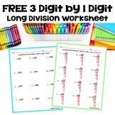 Long Division Worksheet: 3 Digit by 1 Digit (FREE)