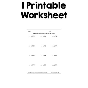 Long Division Worksheet: 3 Digit by 1 Digit (FREE) by Sheila Cantonwine