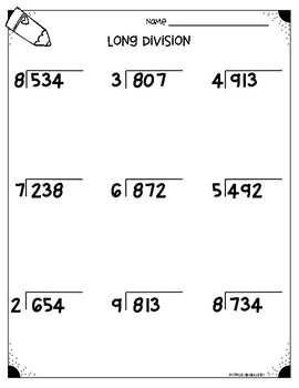 Long Division Worksheets (4.NBT.B6 \u0026 5.NBT.B6)