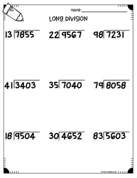 Long Division Worksheets (4.NBT.B6 & 5.NBT.B6) by Monica ...