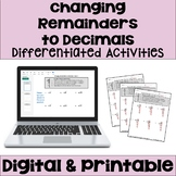 Long Division Worksheets: Changing Remainders to Decimals (3 Levels)