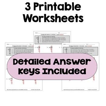 long division worksheets changing remainders to decimals. Black Bedroom Furniture Sets. Home Design Ideas