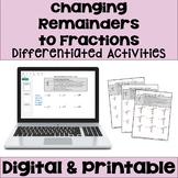 Long Division Worksheets: Changing Remainders to Fractions (3 Levels)