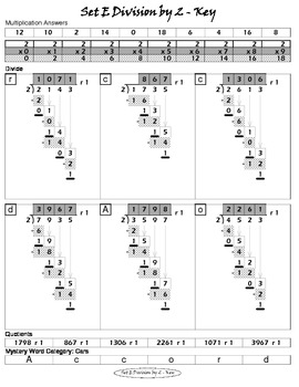 Long Division Worksheets (Division Tutor Set E Grayscale)