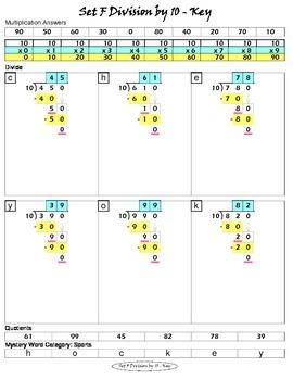 Long Division Worksheets (Division Tutor Set F Color)