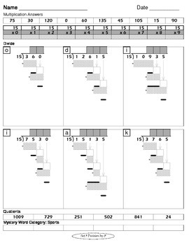 Long Division Worksheets (Division Tutor Set F Grayscale)