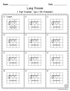 Long Division Worksheets with Grid Assistance