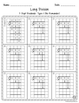 long division worksheets with grid assistance by. Black Bedroom Furniture Sets. Home Design Ideas
