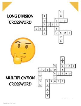 Long Division and Multiplication Crossword
