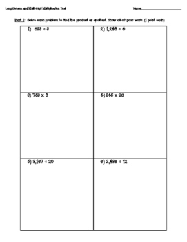 Long Division and Multiplication Quiz or Test