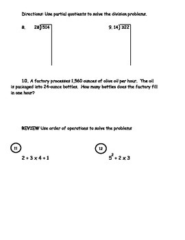Long Division and Order of Operations