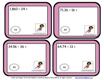 Long Division of Decimals Task Cards