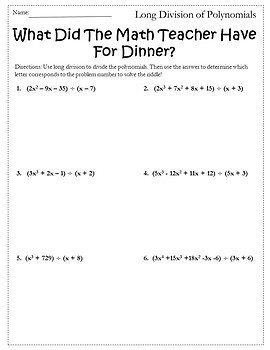 Polynomial Long Division Worksheets - dividing polynomials with ...