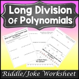 Polynomial Long Division Activity {Dividing Polynomials Ac