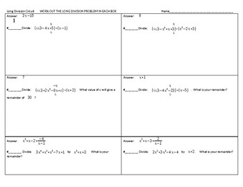 Long Division of Polynomials Circuit