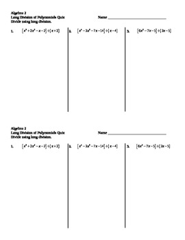 Long Division of Polynomials Quiz
