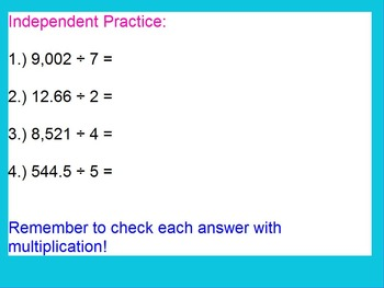 Long Division of Whole Numbers and Decimals