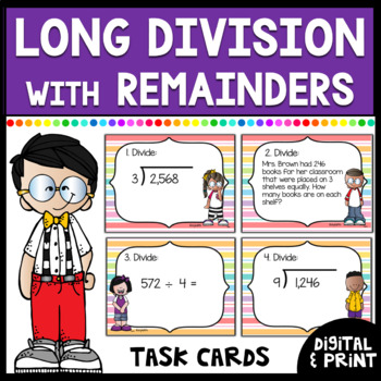 Long Division w/ Remainders Task Cards