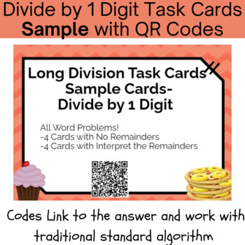 Long Division with 1 Digit Divisor Task Cards With QR Codes & Work - 5.NBT.6