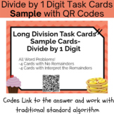 Long Division with 1 Digit Divisor Task Cards With QR Code
