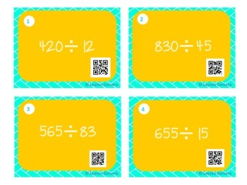 Long Division with 2 Digit Divisor Task Cards