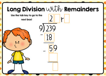 Long Division with 2-Digit Quotients and Remainders Boom Cards
