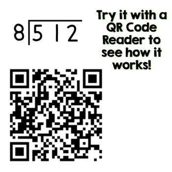 QR Code Task Cards for Long Division with 2 & 3 Digit Dividends