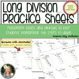 Long Division with Decimals Practice Sheets