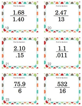 Long Division with Decimals - Task Cards with QR Codes (Optional!)